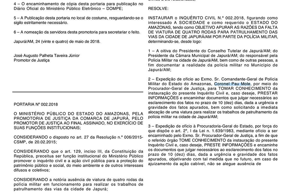 Grosseria contra comandante da PM publicada no Diário Oficial